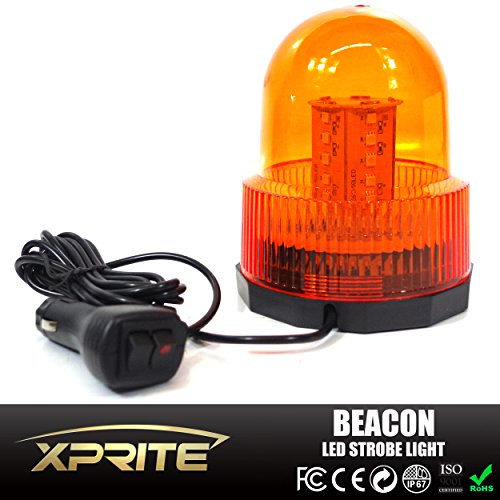 Xprite-High-Intensity-Super-Bright-YellowAmber-Revolving-30-LED-5050-SMD-15W-LED-Emergency-Vehicle-Magnetic-Mount-Strobe-and-Rotating-Light-Beacon-Pattern