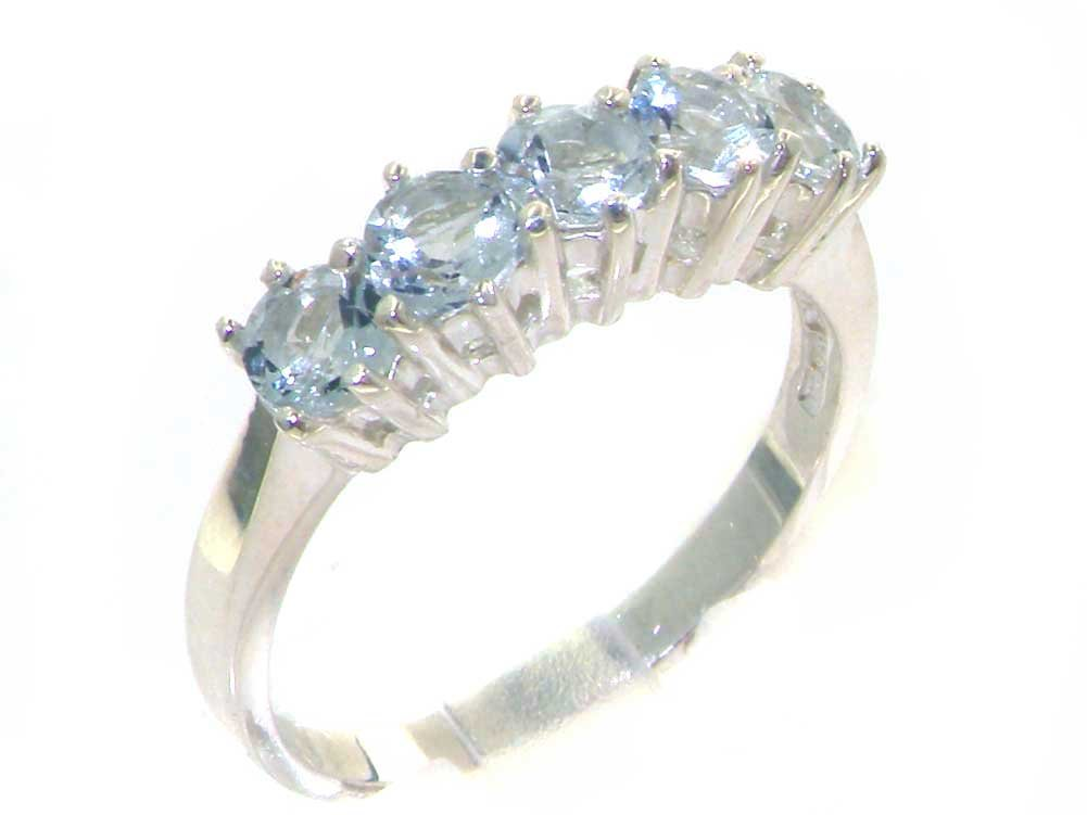 925 Sterling Silver Natural Aquamarine Womens Eternity Ring - Sizes 4 to 12 Available
