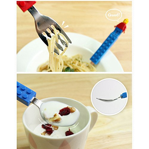 Brick Figure Design Oxford Training Chopsticks Spoon Fork Case Set for Right-hand Children Kids (BlueCaseSpoonForkChopsticks) by OxfordKorea (Image #7)
