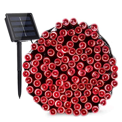 (Toodour Solar String Lights 72ft 200 LED 8 Modes Solar Powered Fairy String Lights Waterproof Solar Garden Lights for Lawn, Patio, Home, Wedding, Party, Xmas(Red))