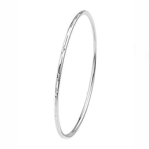 Merdia 925 Sterling Silver Polished Bangle Bracelet with Fresh Simple Style (6cm 5.5g) OLiyzPl