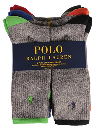 Polo 6 Pack Crew Sock Grey 10-13 (Ralph Lauren Men Clothing compare prices)