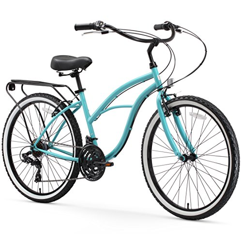 sixthreezero Around The Block Women's 21-Speed Cruiser Bicycle, Teal Blue w/ Black Seat/Grips, 26