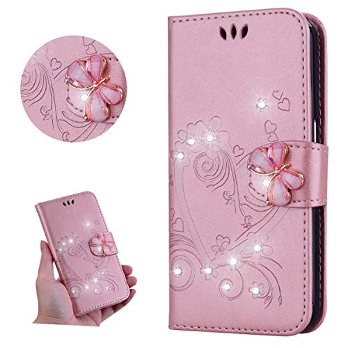 Miagon for Samsung Galaxy Note 9 Floral Wallet Case,Bling Crystal Diamond Butterfly Buckle Embossed Love Heart Pu Leather Kickstand Magnetic Clasp Protective Flip Cover ()