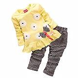 Koly Newborn Baby Clothing Sets Long-Sleeved Kids Girls Flower Bow Shirt Plaid Pant Set+1 baby headband