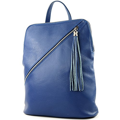 modamoda de - Made in Italy - Bolso mochila para mujer T161 Royalblau