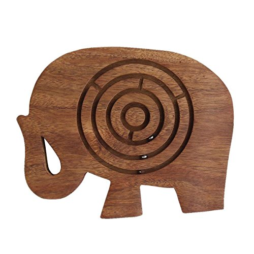 storeindya Wooden Labyrinth Maze Puzzle Indoor Game Travel Toys for Children Easy to Learn and Play with 3 Metal Balls Made of Rosewood Thanksgiving Return Gifts (Elephant) (Best Gift For Engagement To Girl In India)