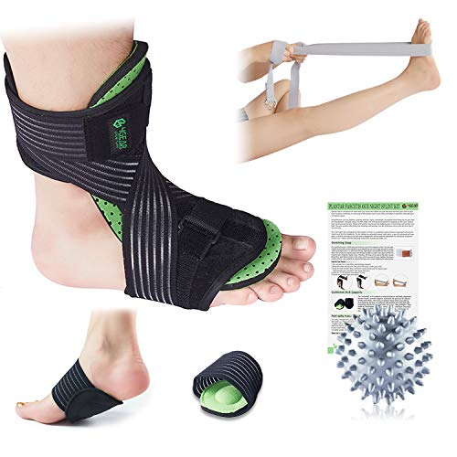 Plantar Fasciitis Night Splint Kit – 5pcs- Adjustable Foot Dorsal Night Splint, Cushioned Arch Supports, Stretching Strap, Free Spiky Massage Ball & Instruction Manual- Fast Arch & Heel Pain Relief