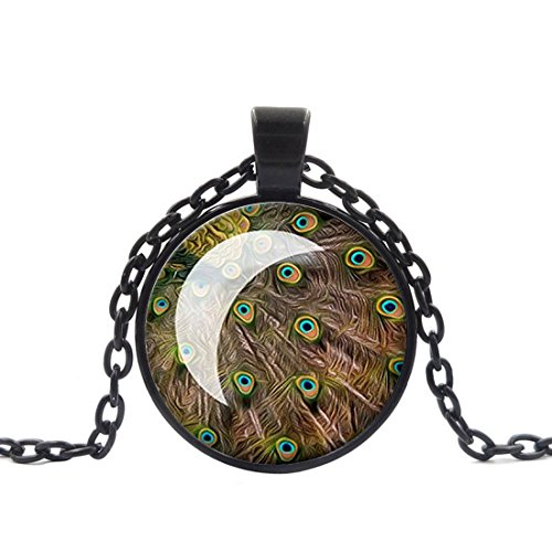 Crystal Necklace Peacock Feather Photo jewelry pendant Black Charm by Pretty Lee