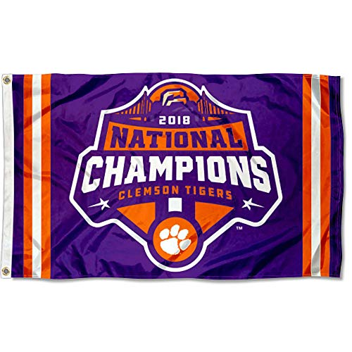 (College Flags and Banners Co. Clemson Tigers Football 2018 National Championship Flag)