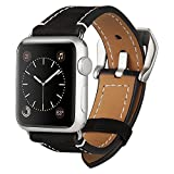 Apple Watch Band, AUCEE 42mm iWatch Band Strap Premium Crazy Horse Genuine Leather Watchband with Stainless Metal Adapter Clasp Replacement Wrist Band for Apple Watch Sport Edition Series 1 2- Black
