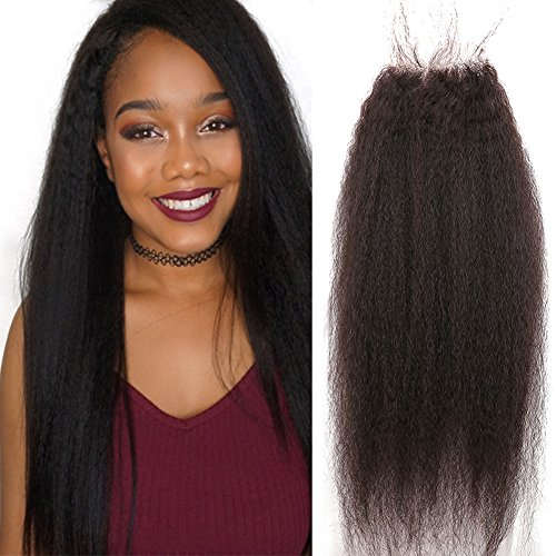 Sent Hair Brazilian Virgin Hair Lace Closure Free Part with Baby Hair Kinky Straight Human Hair Closure 4x4 Natural Color 20 inch -  Qingdao Sent Hair Products Co.,Ltd., KST-LC-F20