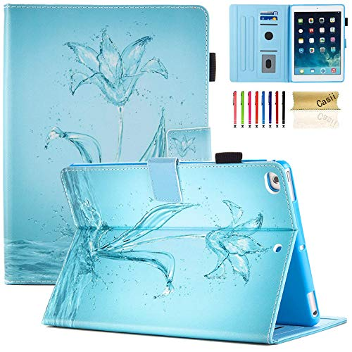 iPad 9.7 2018/2017 Case, Casii Slim Soft PU Leather Magnetic Folio Stand Cover with Card Holders [Auto Sleep/Wake] for Apple iPad 9.7 Inch 5th/6th Generation, iPad Air, iPad Air 2 (Crystal Flower)