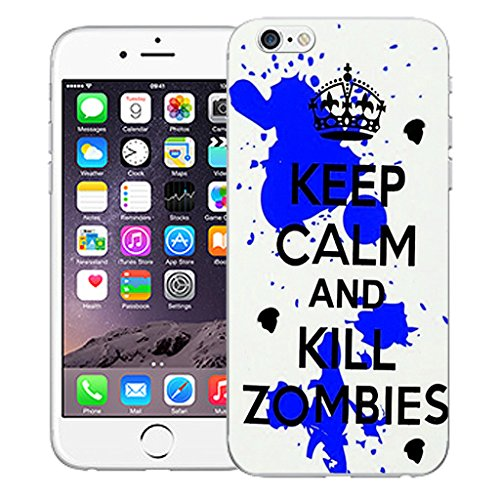 """Mobile Case Mate iPhone 6S 4.7"""" Silicone Coque couverture case cover Pare-chocs + STYLET - Blue Kill Zombies pattern (SILICON)"""