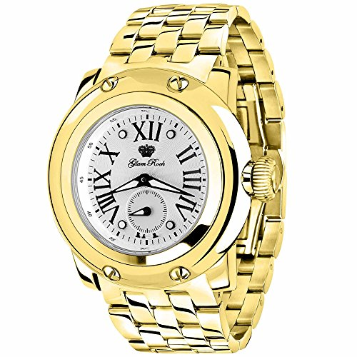 GLAM ROCK WOMEN'S MIAMI 46MM STEEL BRACELET SWISS QUARTZ ANALOG WATCH GR10070