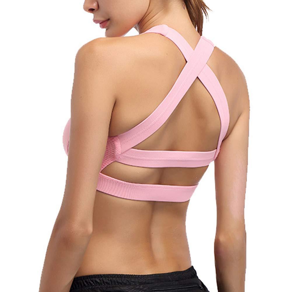 LDHY Sport-BHs für Damen, gepolsterte Sport-Yoga-BHs mit gekreuztem Rücken, Sport-Fitness-Yoga-Wear-BH für Damen, 2er-Pack