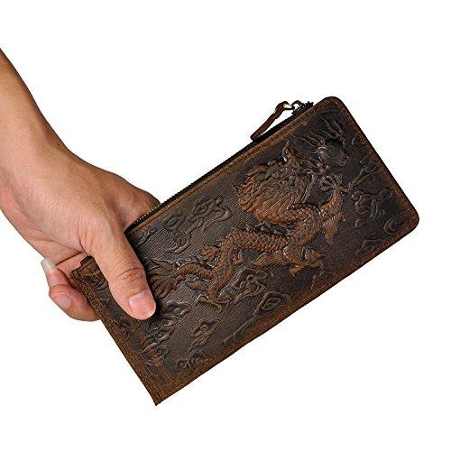 Leaokuu cartera de cuero con cremallera para Tarjeta del talonario de cheques bolsillo para el móvil Bolsos monederos de gran capacidad (Dargon): ...