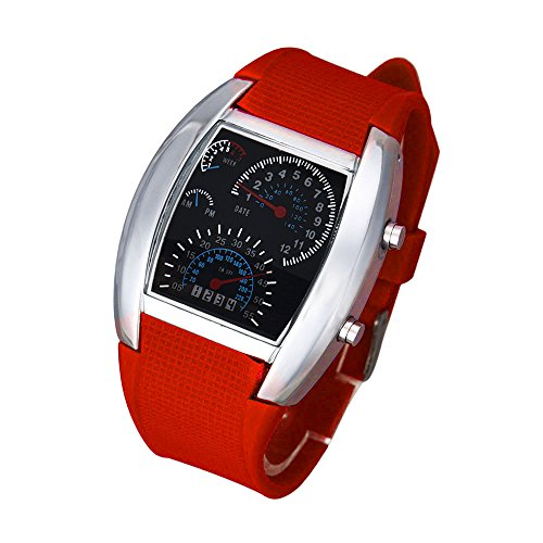 Triskye Womens Mens Analog Quartz LED Watches Business Casual Luxury Rubber Strap Band Round Aviation Turbo Dial Flash Wrist Watch Sports Car Meter Ladies Wristwatch Bracelet for Teen Girls