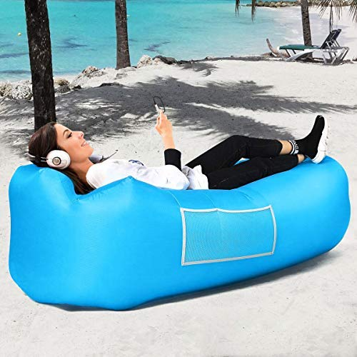 SEGOAL Inflatable Lounger Air Sofa with Pillow - Best Air Lounger Air Chair Inflatable Couch Air Sofa Hammock for Travelling Camping Beach Backyard Picnics (Comes with a Free Towel) [並行輸入品] B07R4V6D2H
