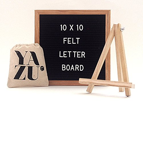 YAZU Changeable Felt Letter Board 10 x 10 inches with Wooden Stand - Oak Wood Frame - Storage Pouch - Wall Mount - 360 Plastic Letters with Emojis, Numbers & Symbols - By