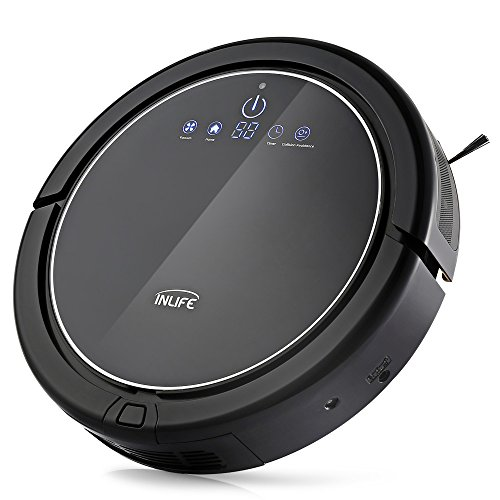 INLIFE Robotic Vacuum Cleaner Self-Charging Floor Cleaner with Drop-Sensing, Anti-Bump Technology, Water Tank, Design for Hard Floor and Thin Carpet