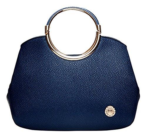 Hellofashion Women's Elegant A Little Leather Handbag Dark Blue One Size