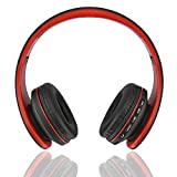 Fetta Wireless Foldable Over Ear Bluetooth Headphones with Mic Headsets with 3.5 MM Audio Cable for Running Sports Stereo Earphones for Bluetooth Enabled Devices (Red)