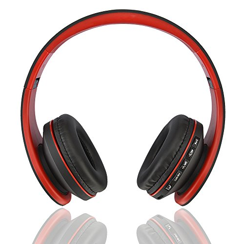 (Foldable Wireless Bluetooth Headphone Stereo Headset Digital 4 in 1 Wired Earphones with Mic MP3 MicroSD FM(red))