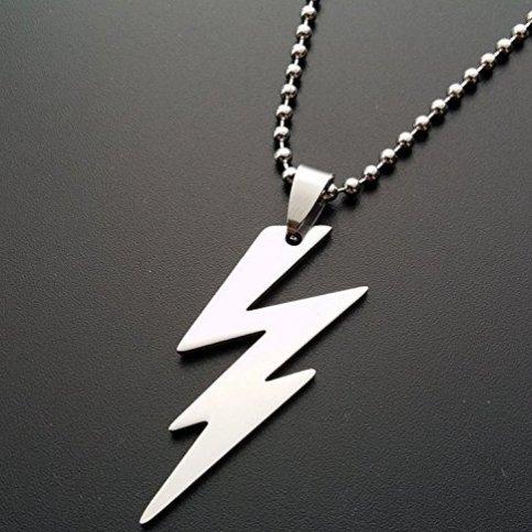 (Lightning Bolt Necklace - Silver Thunder Bolt Pendant - Silver Lightning Strike Charm - Long Layering - Trendy Celebrity Jewelry - Bolt)