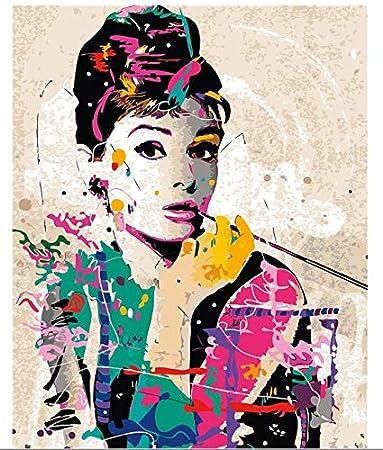 ZGAzhe Decoración De La Pared De Cuadros Sin Marco Pintura por Números Pintados A Mano En La Lona Pintura De Audrey Hepburn Pintura Al Óleo De Fondo Moderna