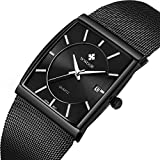 Men's Quartz Wrist Watch Stainless Steel Mesh Rectangle Watches Men Analog Classic Black Wrist Watch Black Square Dial Watch with Date