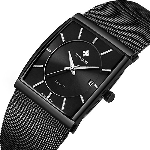 Men's Quartz Wrist Watch Stainless Steel Mesh Rectangle Watches Men Analog Classic Black Wrist Watch Black Square Dial Watch with (Black Square Metal Watch)