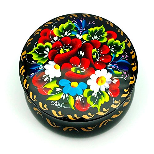 UA Creations Round Box for Jewelry for Women and Girls with Flowers on Black Lacquer for Rings, Earrings, Necklace