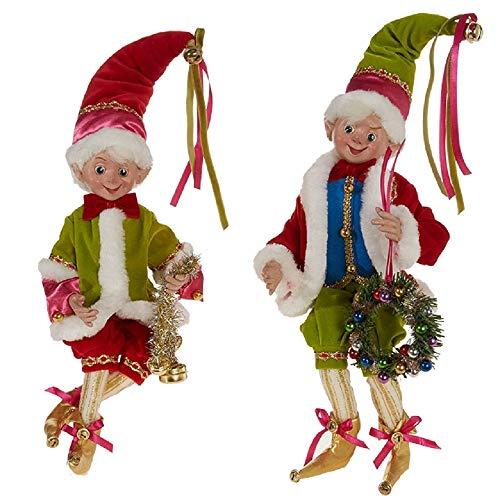 RAZ Imports SET OF 2 Raz 16 Bright Multicolor Posable Elf Christmas Figure 3802261