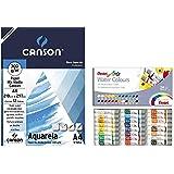 Kit Papel Canson Aquarela 300gr+Aquarela Pentel WFRS 24 cores