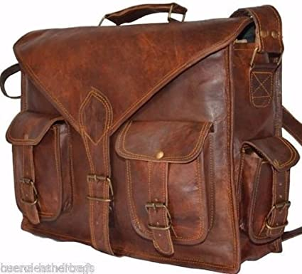 cb01b2a7862 Image Unavailable. Image not available for. Color  15 Inch Rustic Vintage  Leather Messenger Bag Laptop Bag Briefcase Satchel bag