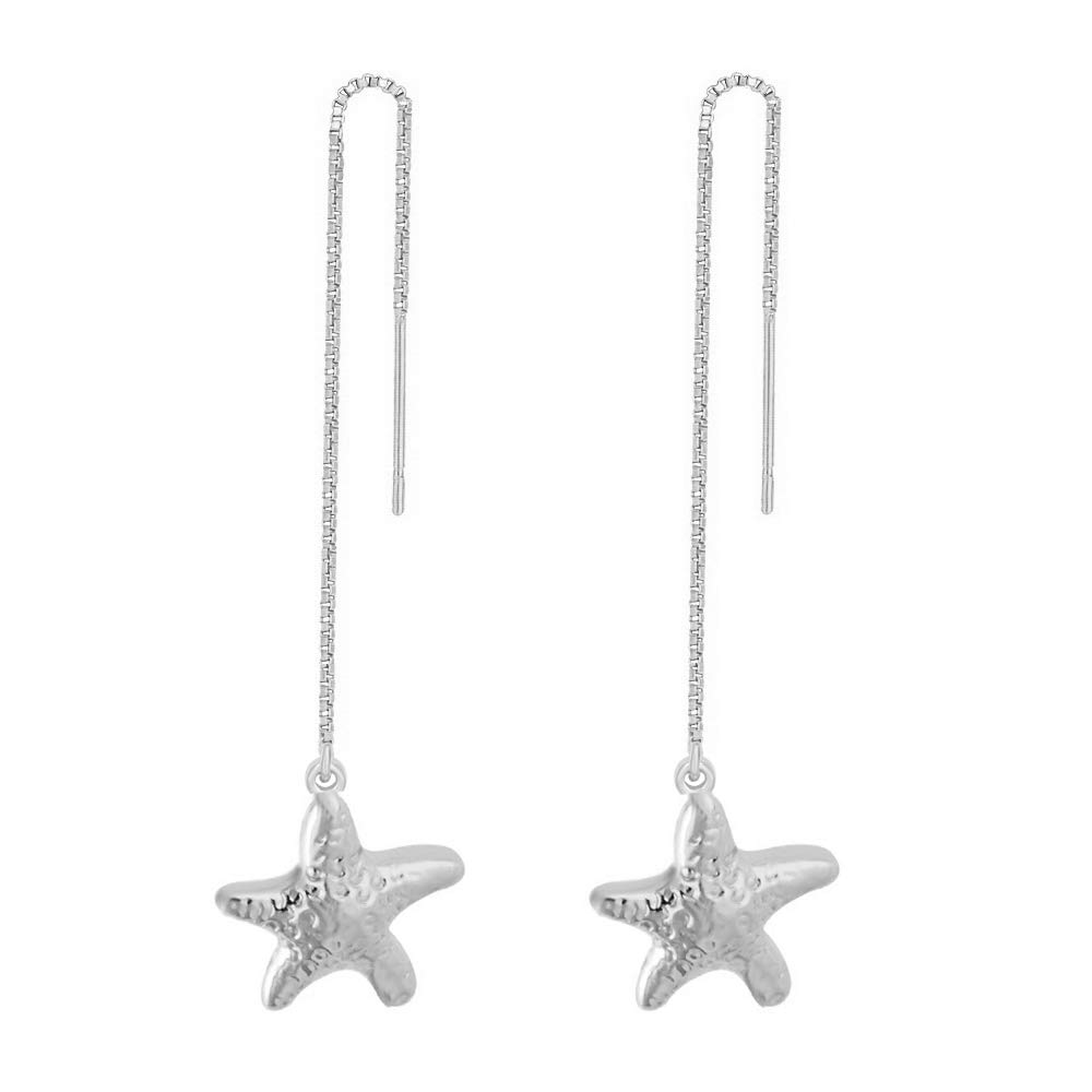 MANZHEN Summer Beach Starfish Nautical Charm Threader Earrings (silver)