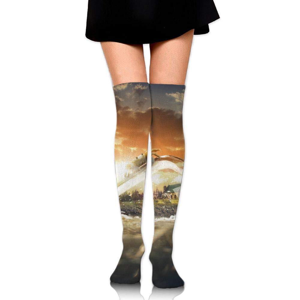 High Elasticity Girl Cotton Knee High Socks Uniform Sea Crab Horses Women Tube Socks