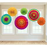 Sorive® Fiesta Colorful Paper Fans Round Wheel Disc Southwestern Pattern Design for Party, Event, Home Decoration (Set of 6) by Sorive®