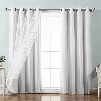Best Home Fashion uMIXm Tulle Sheer Lace & Blackout 4 Piece Curtain Set - Antique Bronze Grommet Top - Vapor - 52