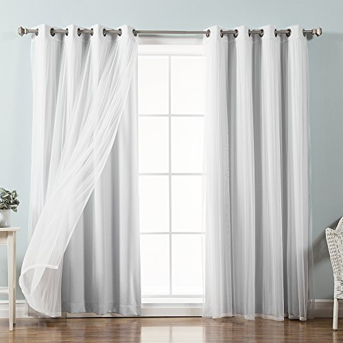 Best Home Fashion Mix & Match Tulle Sheer Lace & Blackout Curtain Set - Antique Bronze Grommet Top - Vapor - 52