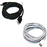 2 pack 10ft Braided Fabric Micro USB 3.0 Data Charger Cable Samsung Note 3 N9000 S5 i9600(1x black and 1x white)