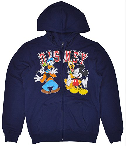 Disney Hoodie Mickey Mouse Donald Duck Goofy Pluto Full Zip Sweatshirt (Large)
