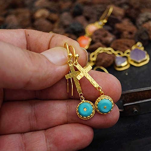 (Sterling Silver Hammered Cross Earrings W/Turquoise 24k Yellow Gold Vermeil Handcrafted Roman Art Design Women Earrings Turkish Designer Jewelry)