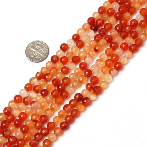 GEM-inside Gemstone Loose Beads Genuine Natural Carnelian 6mm Round Faceted Energy Stone Power Beads For Jewelry Making 15