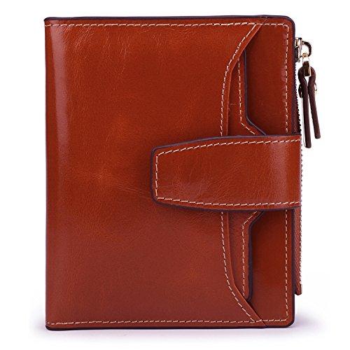 AINIMOER Women's RFID Blocking Leather Small Compact Bi-fold Zipper Pocket Wallet Card Case Purse (Waxed Sorrel) ()
