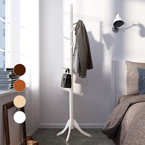 LCH Sturdy Standing Coat Rack Solid Rubber Wood Hall Tree Coat Tree with Tripod Base, 8 Hooks (White) by LCH