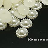 So Beauty 50Pcs ABS Resin Ivory Flat Back Round Flower Pearl Embellishments DIY Wedding Crafts