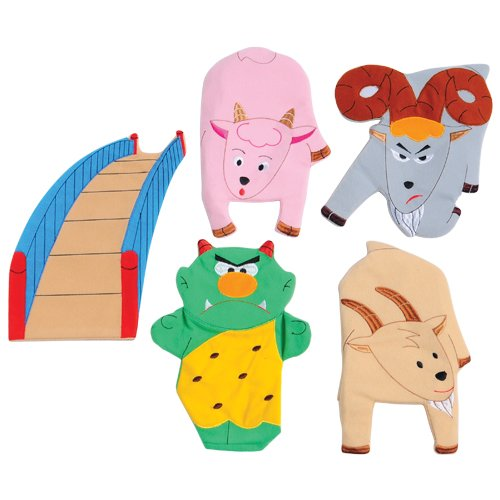 Constructive Playthings SVL-467 3 Billy Goats Gruff Story Telling Hand Puppet 5 Pc. Set, Grade: Kindergarten to 3, Age: 9.95