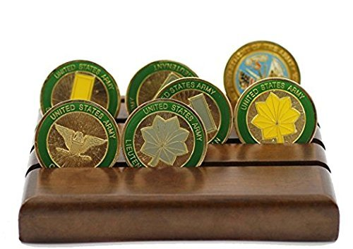 Coin Row Display (DECOMIL Military Challenge Coin Holder Stand (Walnut) (Wood, 4 Rows (Small)))